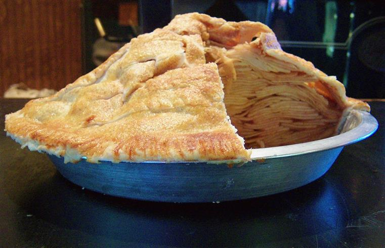 Large apple pie in pie dish