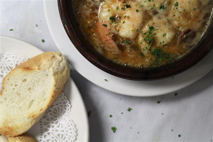 Bread and shrimp soup