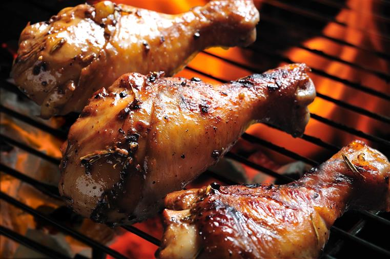 Chicken legs on the barbecue