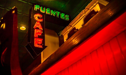 """Fuentes Cafe"" neon sign"