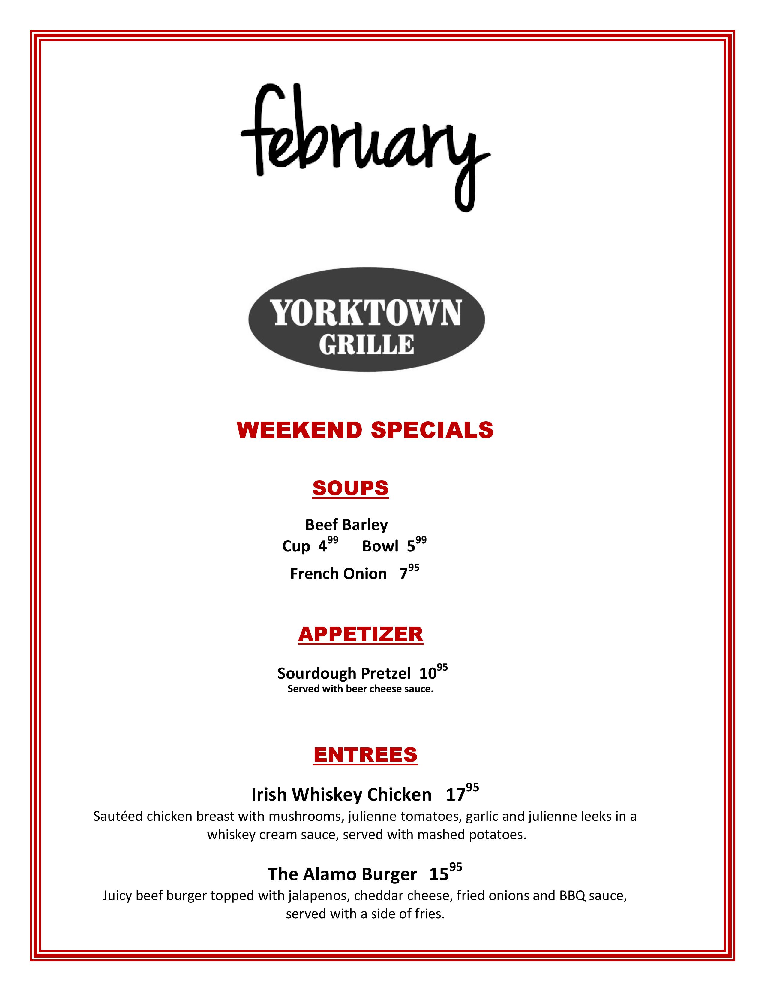 Weekend Specials - click for readable PDF