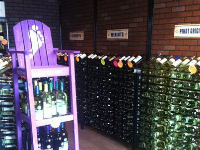 Liquor store interior with bottles of wine on display