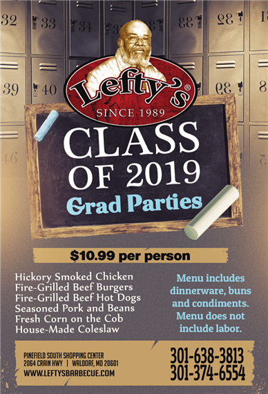 Glass of 2019 Grad Parties. 10.99 per person. menu includes dinnerware, buns, and condiments. Does not include labor. hickory Smoked chicken, fire-grilled beef burgers, fire-grilled, beef hot dogs, seasoned pork and beans, fresh corn on the cob, and house made coleslaw.  Call 301-638-3813 or 301-374-655