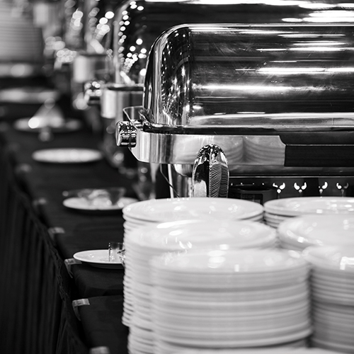 buffet table with plates
