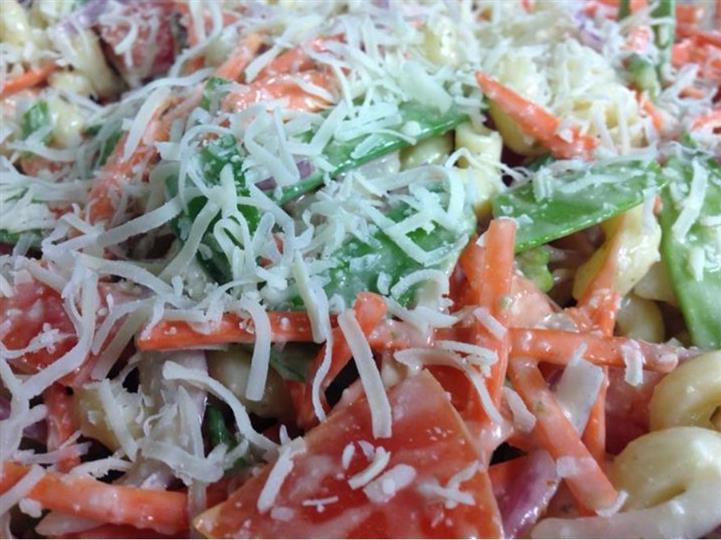 Pasta salad with mixed vegetables dressed in sauce and sprinkled with shredded cheese