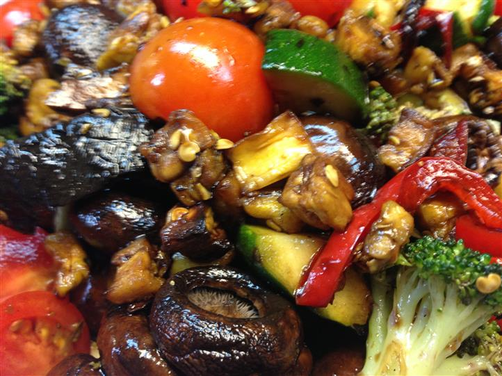 Close up of mixed sauteed vegetables
