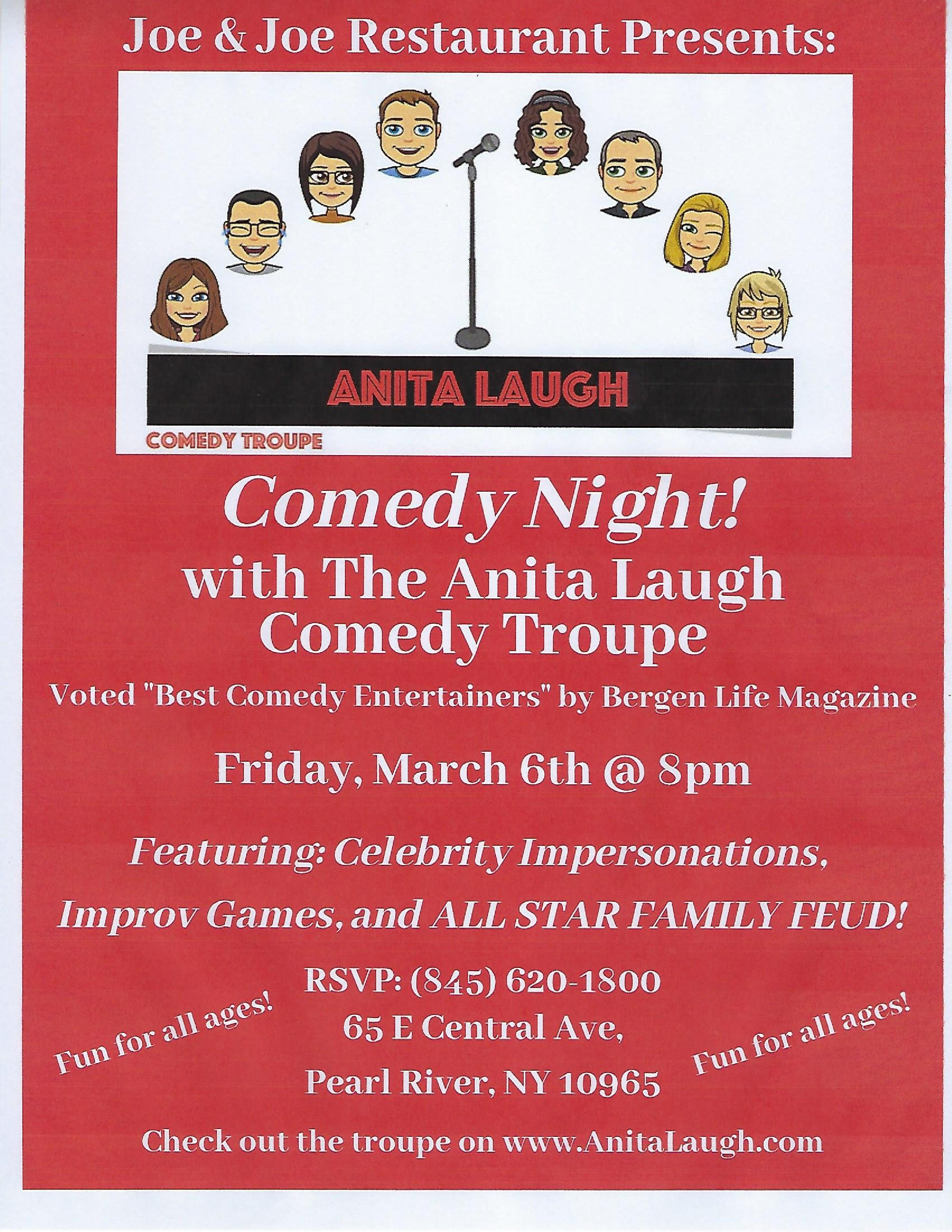 Anita Laugh Comedy Night! with the Anita Laugh Comedy Troupe - Friday, March 6th at 8pm - Featuring Celebrity Impersonations, Improv games and All Star Family Feud!