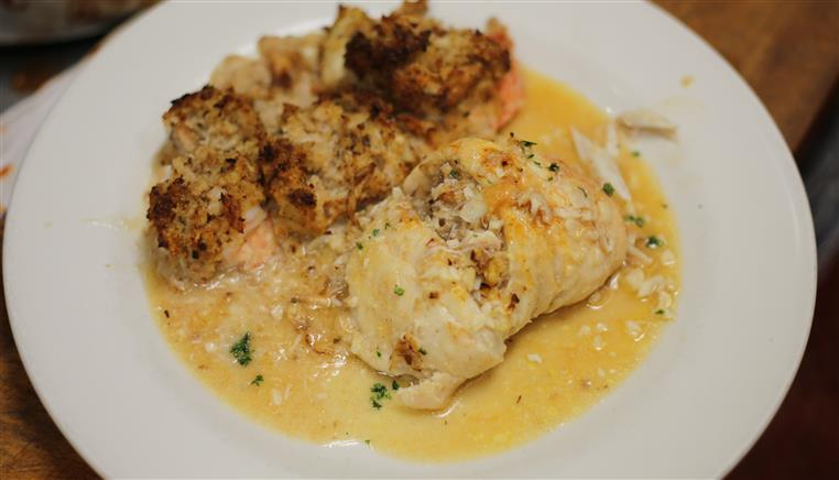 Stuffed Srhump & Stuffed Sole in Scampi Sauce