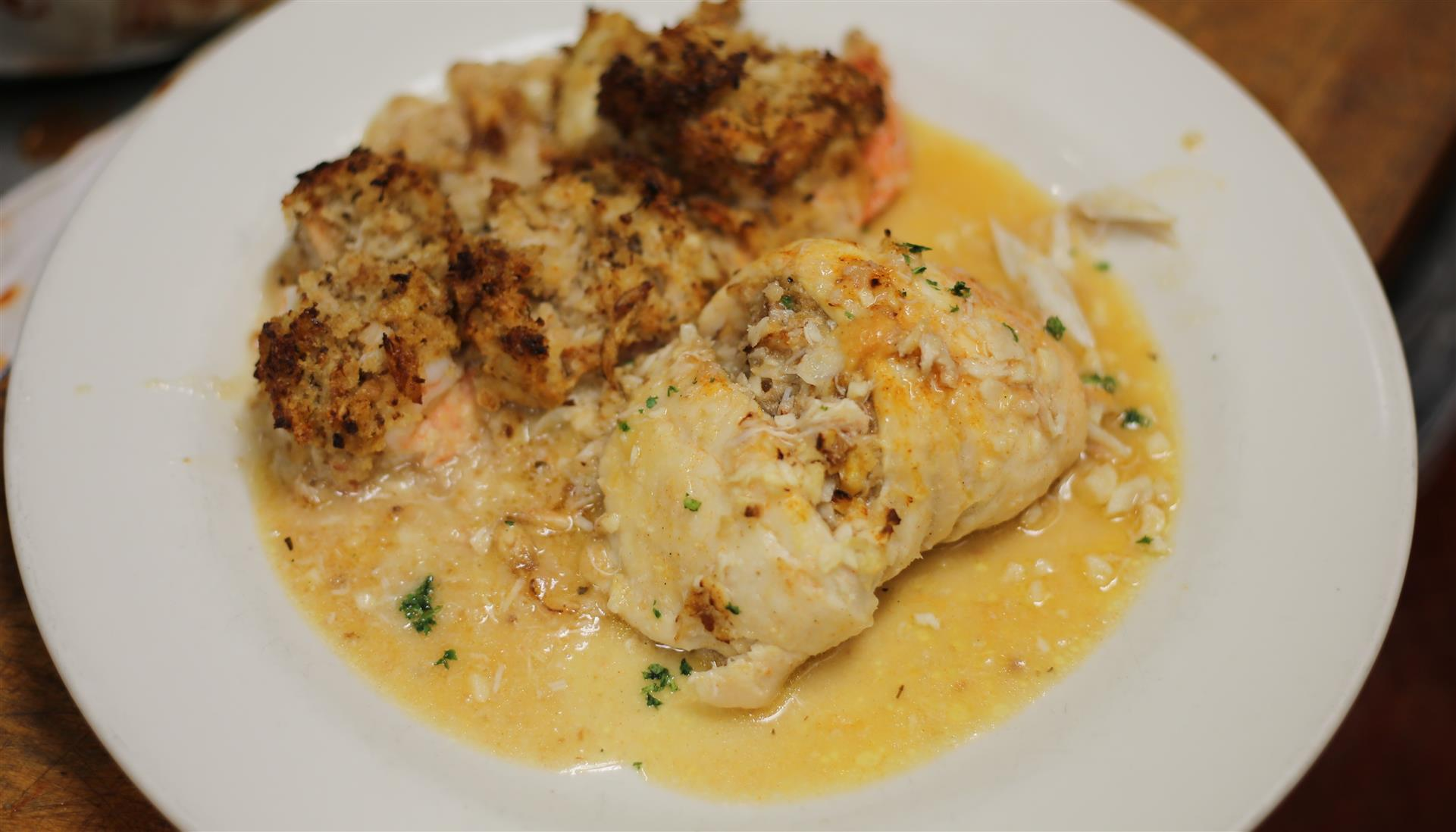 Stuffed Shrump and Sole in Scampi Sauce.