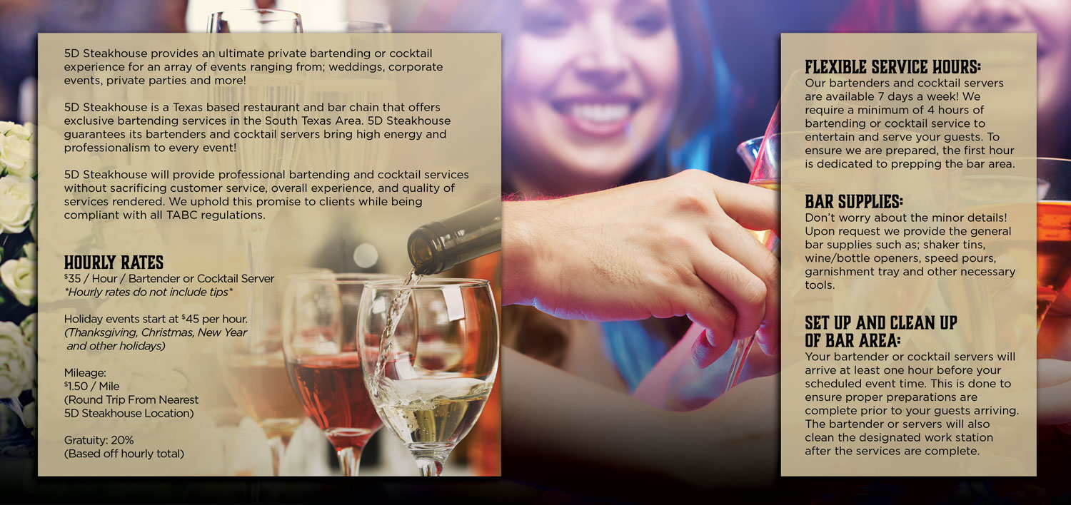 hourly rates, flexible service hours, bar supplies, and set up and clean up of bar area information