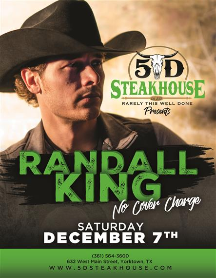 Randall king. No cover charge. Saturday December 7th.