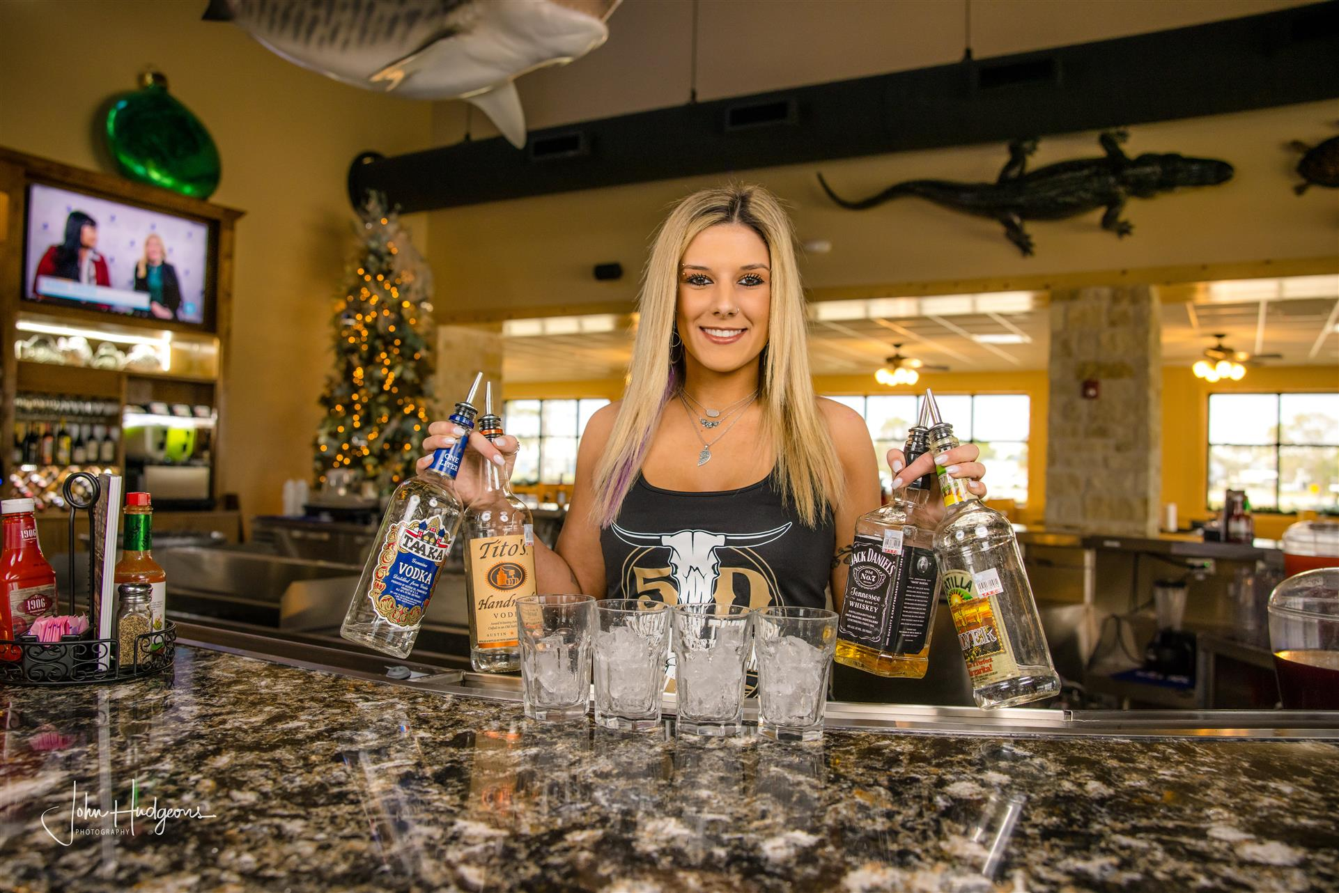 female bartender smiling