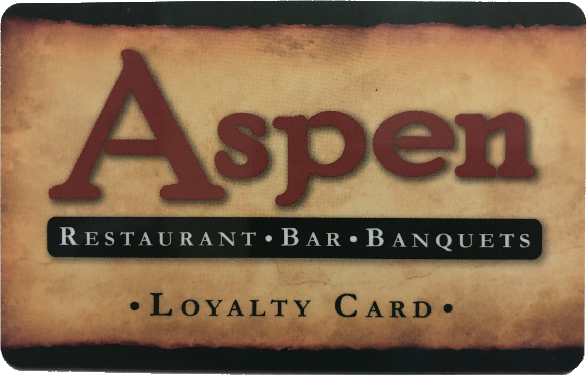 Aspen. Restaurant, bar, banquets. Loyalty card.