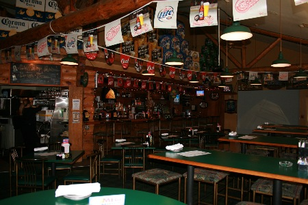 picture of bar area with flags hanging