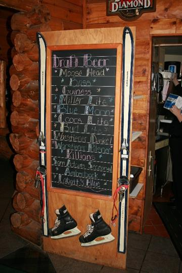 Chalk board with draft beers listed
