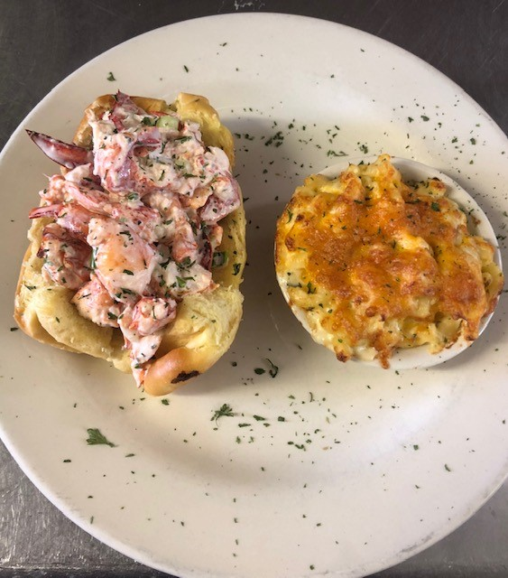 lobster roll and a side of baked macaroni and cheese