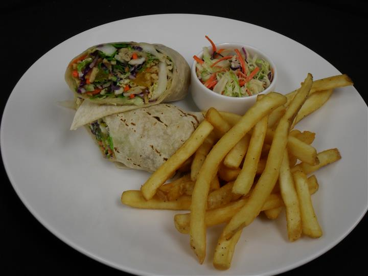 wrap with a side of french fries and cole slaw