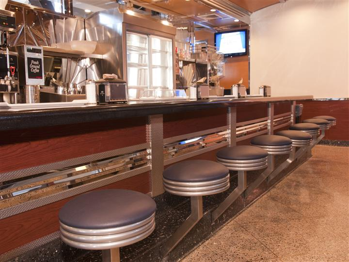 view of the bar inside of the diner