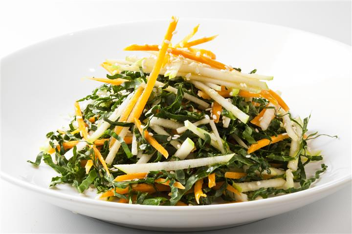 Salad with carrots, ginger, sesame oil, Miso vinaigrette