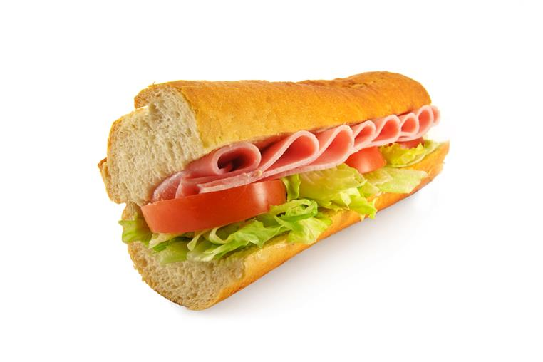 sandwich with meat, lettuce and tomato