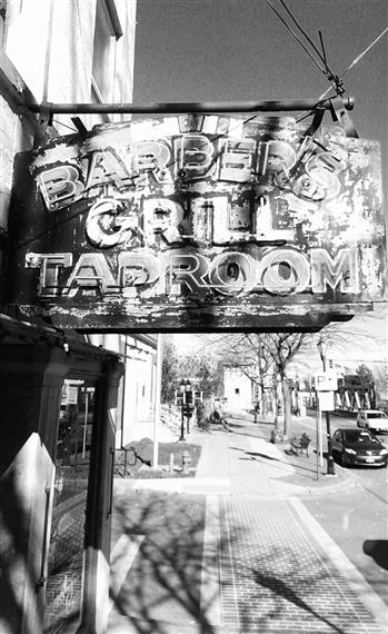 Barber's Grill Taproom sign over front entrance