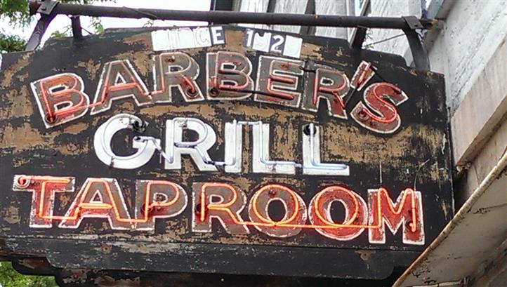 Outdoor Barber's Grill Taproom sign