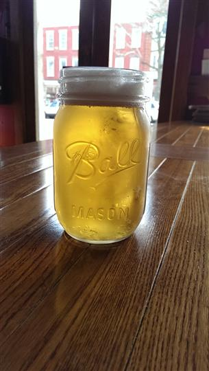 Mason jar of beer