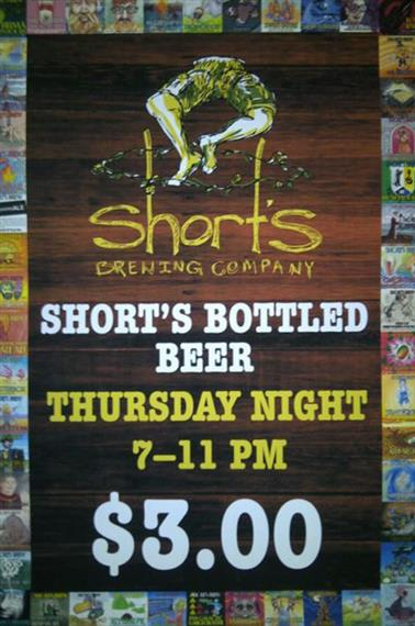 Short's Brewing Company. Short's bottled beer Thursday night 7 to 11 pm three dollars