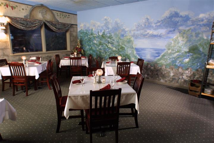 tables and chairs inside restaurant