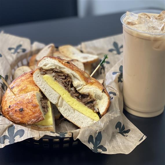 steak egg and cheese and cold brew iced coffee
