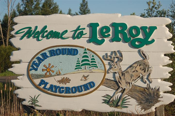 Photo of a sign that says Welcome to LeRoy