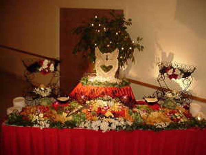 buffet table with various fruits