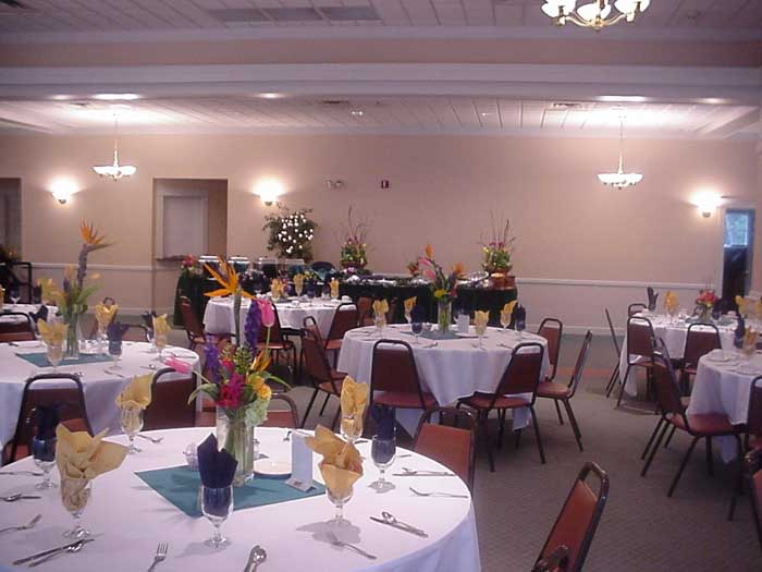 catering hall with decorated tables