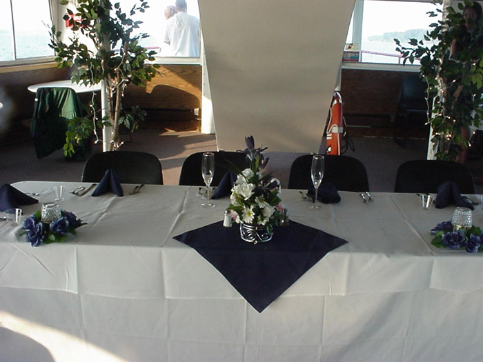 table decorated with floral decorations
