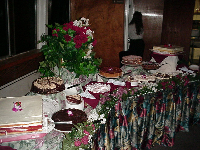 dessert table with various desserts