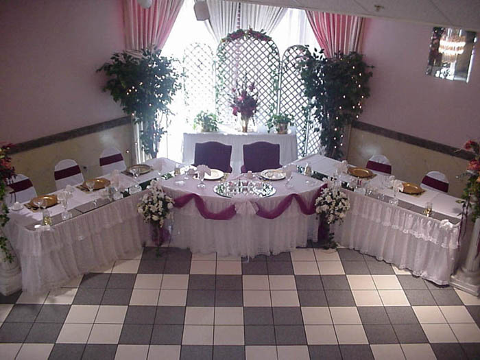 decorated serving tables