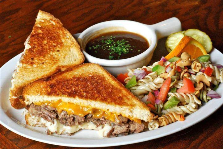 grilled cheese with beef, pasta salad and dipping sauce