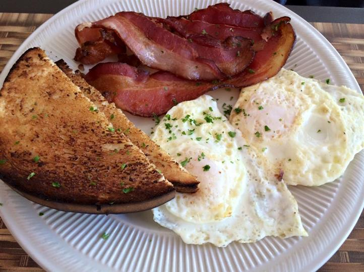 eggs, bacon and toast