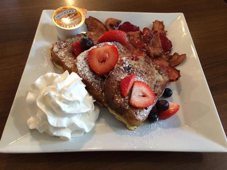 french toast topped with strawberries