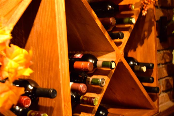 Wine on a wooden rack