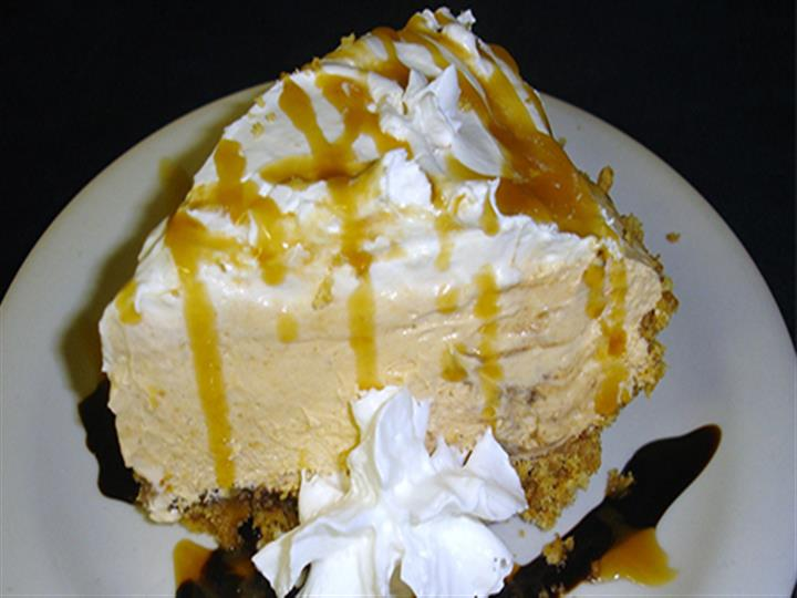 Cake with caramel drizzles