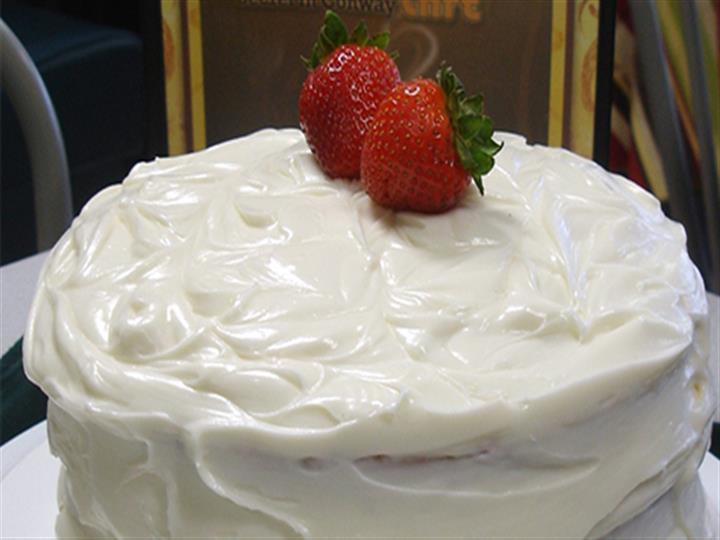 Cake with strawberries on top