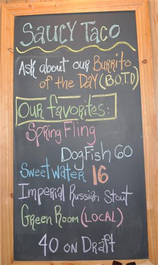 Chalkboard menu showing favorites of the day