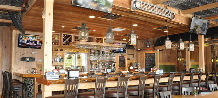 Chandeliers over barstool and chairs