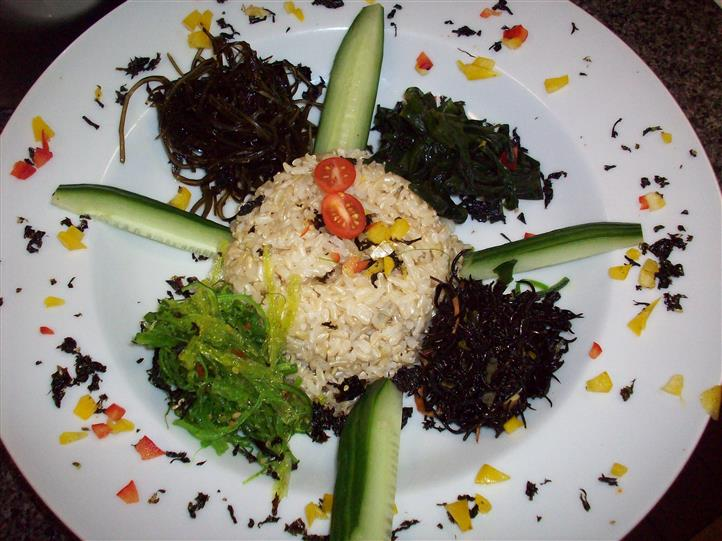 rice with cucumber and veggies