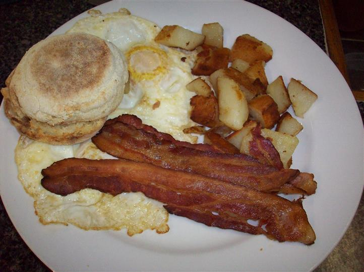 potatoes, english muffin, eggs and bacon
