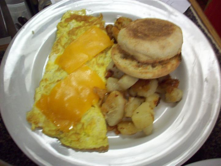 english muffin, eggs with cheese