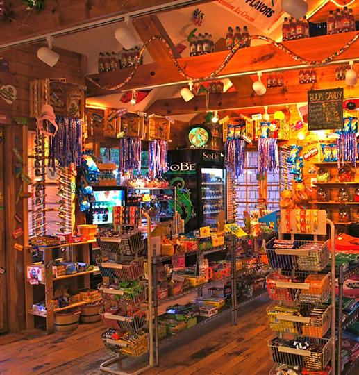 Sleeping bear sweets gift shop with aisles of candy and drinks