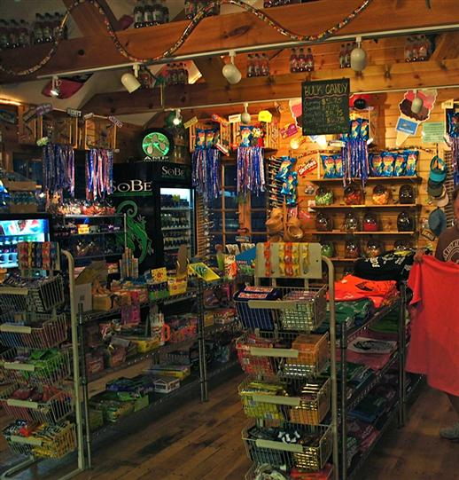 Gift shop area of Boonedocks with candy and apparel