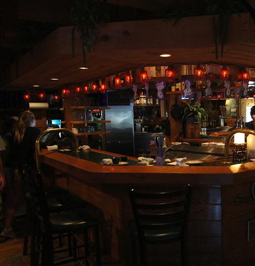 Bar with lantern lights above